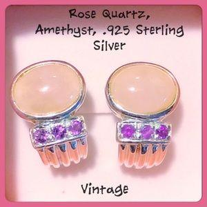 ✨VTG Rose Quartz, Amethyst, .925 SS Earrings✨